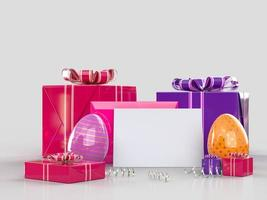 Easter holiday creative background with card and gifts photo