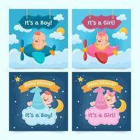 conjunto de tarjetas del día del nacimiento vector