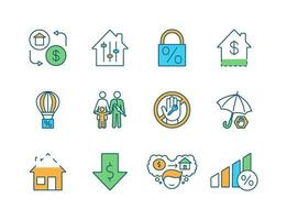 Mortgage RGB color icons set vector