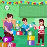 Teacher Plays Alphabet Blocks With Boy and Girl vector