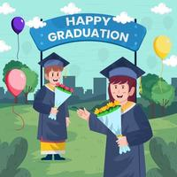 Man and Woman Celebrate Their Graduation Day Concept vector