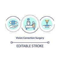 icono de concepto de cirugía de corrección de la visión vector