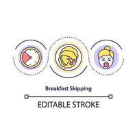 icono de concepto de saltarse el desayuno vector