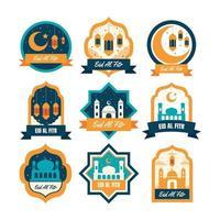 Eid Al Fitr Flat Badge Design Set vector