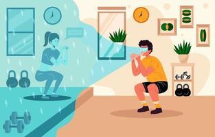 entrenamiento de pérdida de peso en casa vector