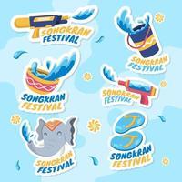 Songkran Festivity Sticker Set Design vector