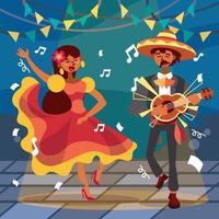 música divertida y baile en el cinco de mayo vector