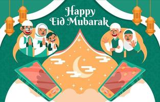 Video Call of Season Greeting Eid Mubarak vector