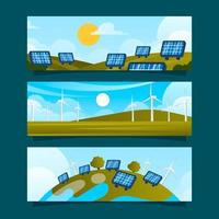 Flat Eco Green Technology Banner Collection vector