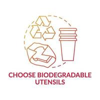 Choose biodegradable utensils concept icon vector