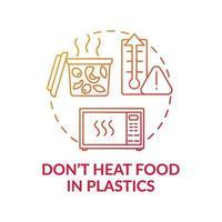 Do not heat food in plastics concept icon vector
