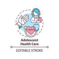 icono del concepto de cuidado de la salud adolescente vector