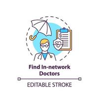 encontrar icono de concepto de médicos dentro de la red vector