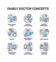 Family doctor concept icons set vector