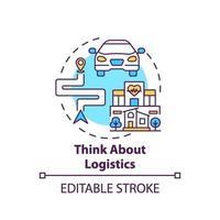 Piense en el icono del concepto de logística vector
