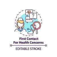 primer contacto para problemas de salud icono del concepto vector