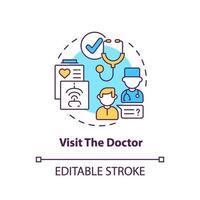 visitar el icono del concepto médico vector
