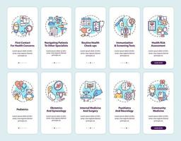 Family doctor onboarding mobile app page screen with concepts set vector