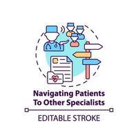 Navegar a los pacientes a otro icono del concepto de especialistas vector