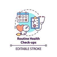 icono de concepto de chequeos de salud de rutina vector