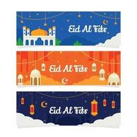 Eid Ramadan Flat Banner Design vector