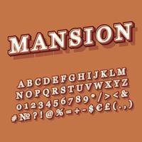 Mansion vintage 3d vector alphabet set