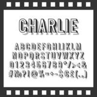 Charlie vintage 3d vector alphabet set