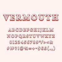 Vermouth vintage 3d vector alphabet set