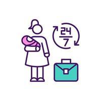 abrumado madre trabajadora icono de color rgb vector