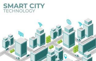 diseño isométrico de la ilustración de la ciudad inteligente vector