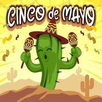 Cartoon Cactus Dancing Celebrating Cinco De Mayo vector