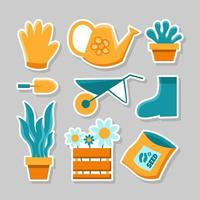 Simple Flat  Design For Gardening Sticker Pack Set