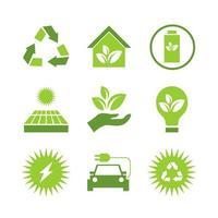 conjunto de iconos de tecnología ecológica verde vector