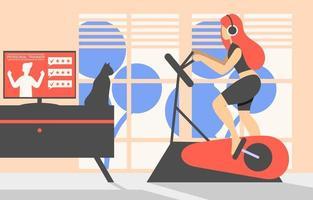 ilustración plana de gimnasio en casa vector