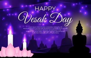 saludos del día vesak con flor de loto y vela vector