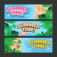 Summer Time Vector Banner Template Set