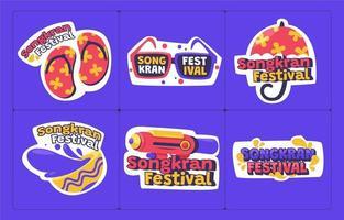 Bright And Fun Songkran Festivity Sticker Collection vector