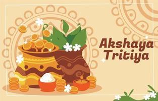 Fondo de akshaya tritiya con ilustración colorida vector