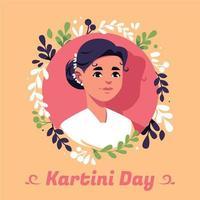 ilustración del día de kartini con mujeres en marco de flores de círculo