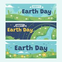 Fun Earth's Day Awareness Banner Collection vector