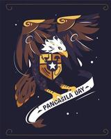Pancasila Day Illustration With Garuda Holding Ribbon