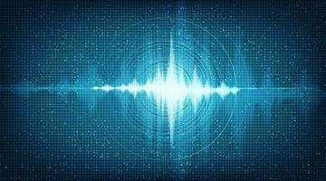 Onda de sonido digital de alta tecnología con vibración circular sobre fondo azul claro vector