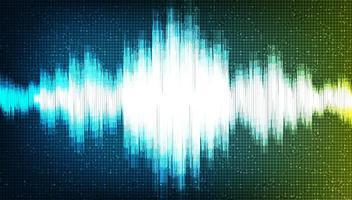 Onda de sonido digital sobre fondo azul y verde vector