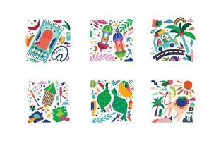 Ramadan Mubarak 1442 Hijriah Islamic Eid Celebration Icon Set Vector Colorful Illustration