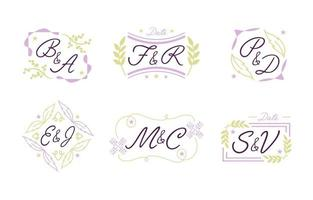 Wedding Monogram Logo Set vector