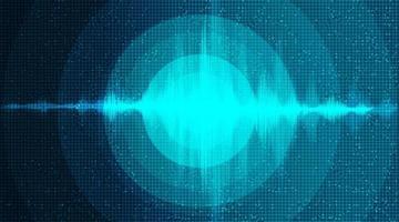 Fondo de onda de sonido digital con vibración circular. vector