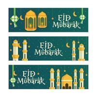 Eid Mubarak Greeting Banners Set vector