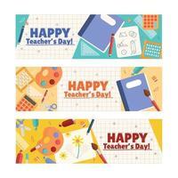 Happy Teacher's Day Banner Set With School Equipment vector