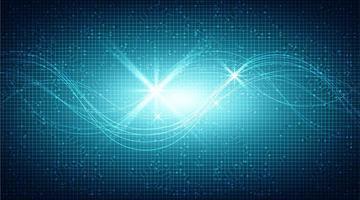 Microchip de circuito azul oscuro sobre fondo de tecnología vector