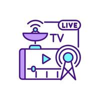 TV streaming services RGB color icon vector